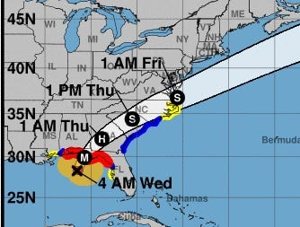This map from the National Hurricane Center showed the projected path for Hurricane Michael as of Oct. 10, 2018.