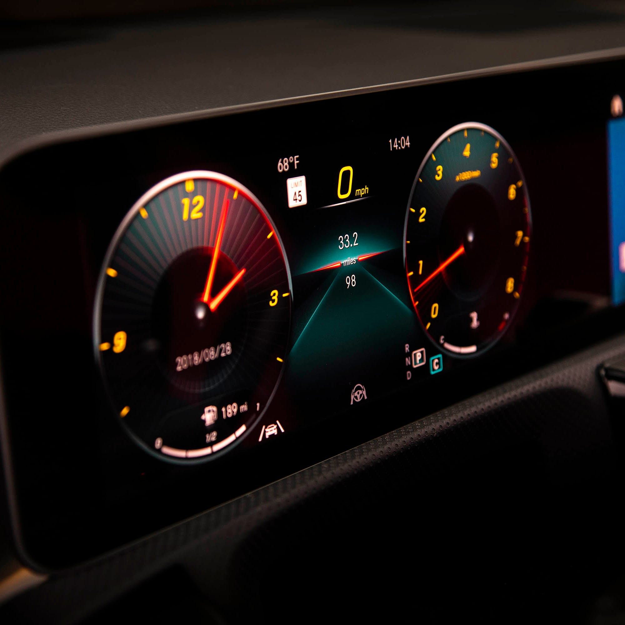 This undated photo provided by Mercedes-Benz shows an LCD screen in the 2019 A 220 4Matic Sedan. The screen is an example of a trend: digital gauges replacing analog ones in vehicle instrument panels. Digital gauges are customizable and can display more information than traditional gauges. (Courtesy of Mercedes-Benz via AP)