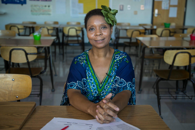 Felecia Branch in her classroom in Detroit.