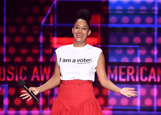 Tracee Ellis Ross wore an 'I am a voter' T-shirt while hosting Tuesday's American Music Awards.