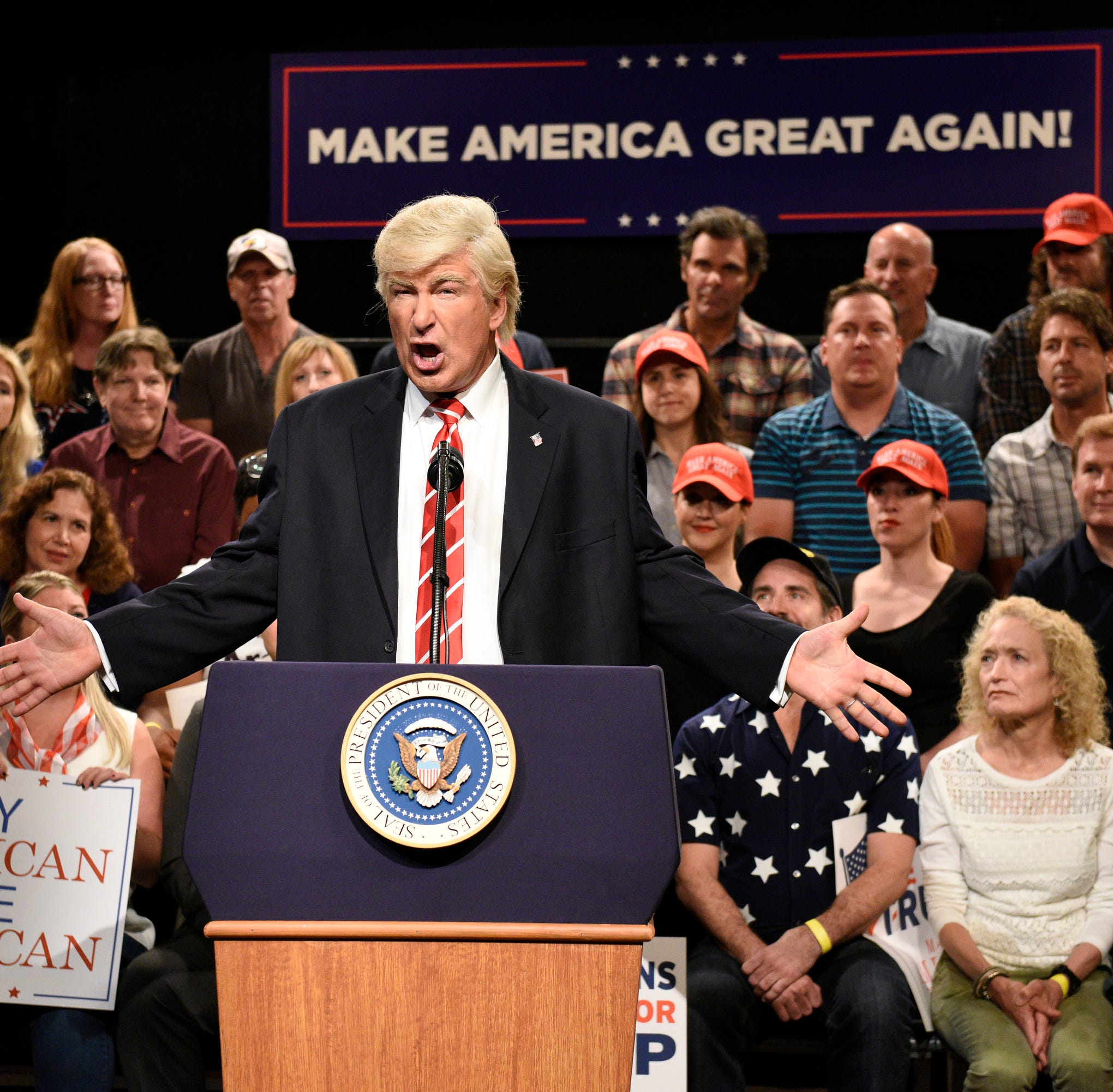 """SATURDAY NIGHT LIVE: WEEKEND UPDATE -- Episode 103 -- Pictured: Alec Baldwin as President Donald Trump during a """"Trump Phoenix Rally"""" on August 24, 2017"""