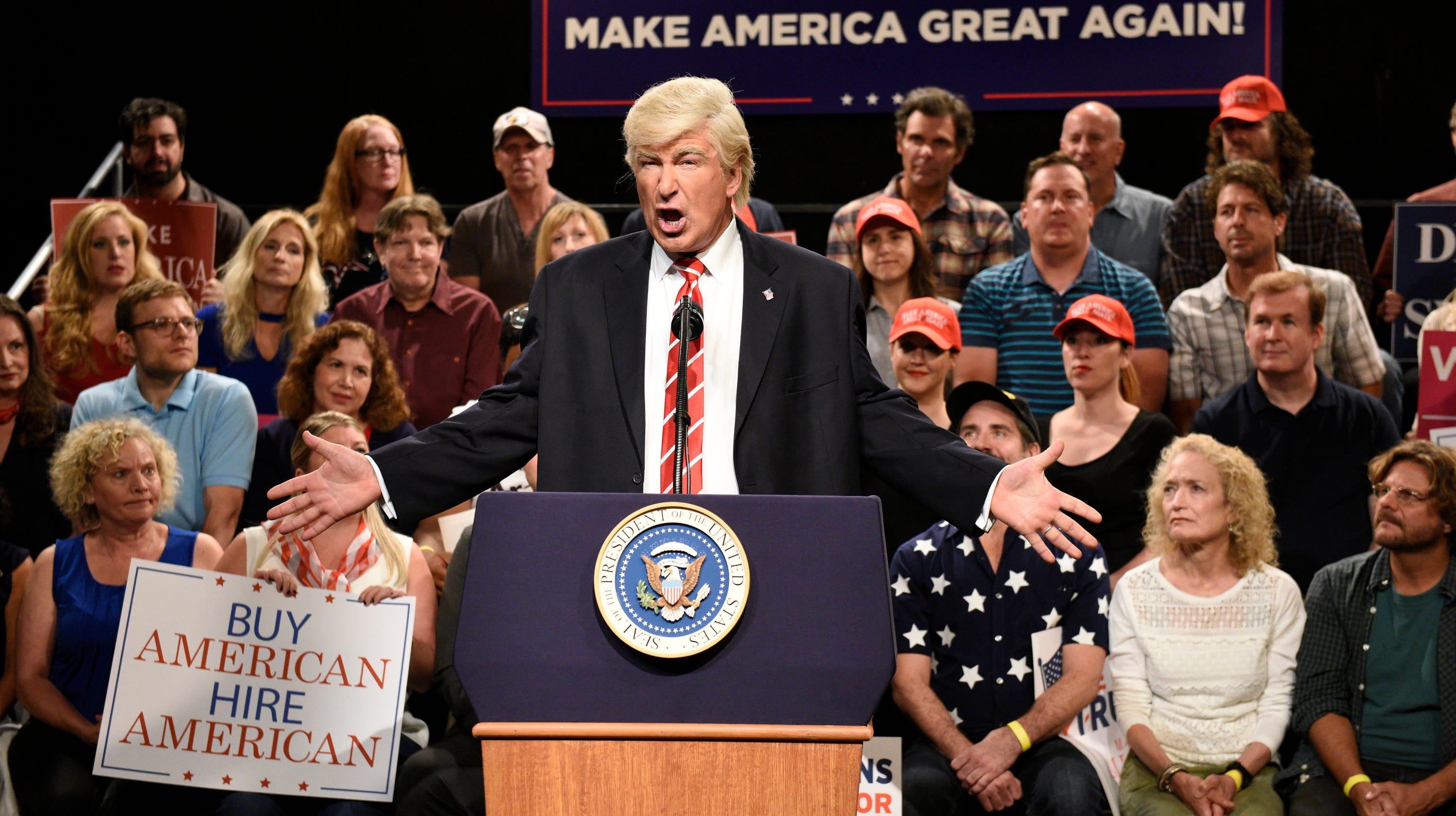 "SATURDAY NIGHT LIVE: WEEKEND UPDATE -- Episode 103 -- Pictured: Alec Baldwin as President Donald Trump during a ""Trump Phoenix Rally"" on August 24, 2017"