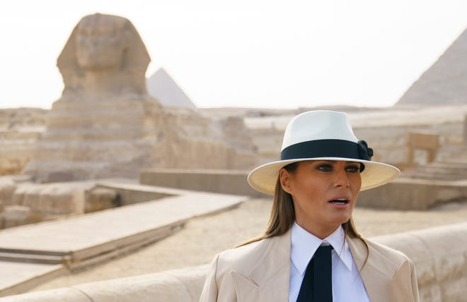 First lady Melania Trump speaks to media as she visits the historic site of Giza Pyramids in Giza, near Cairo, Egypt, Saturday, Oct. 6, 2018.