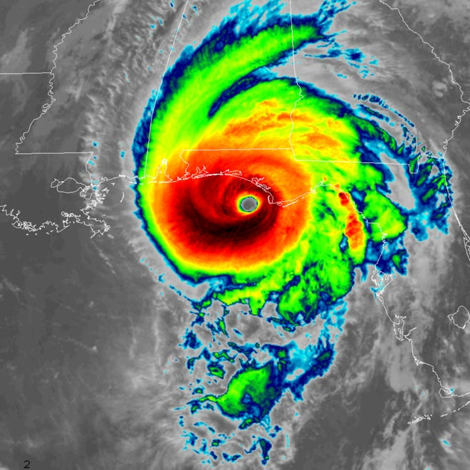 Infrared satellite image shows Hurricane Michael approaching the Florida Panhandle on Oct. 10, 2018.