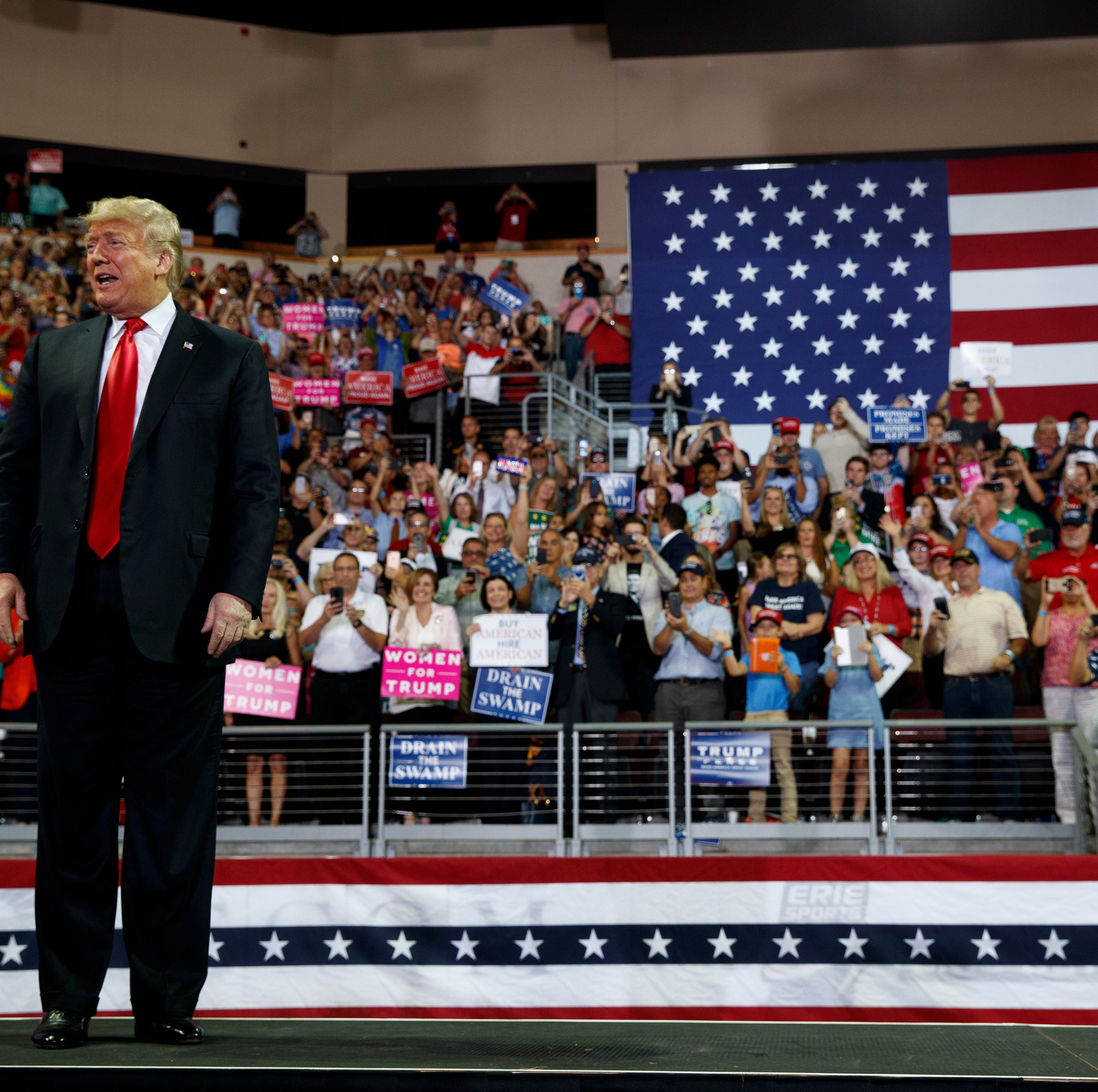 President Donald Trump arrives to speak at a campaign rally Wednesday in Erie, Pennsylvania.