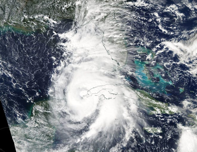 This image captured by NASA shows Hurricane Michael, while still a Category 1 storm, as it moves through the Gulf.