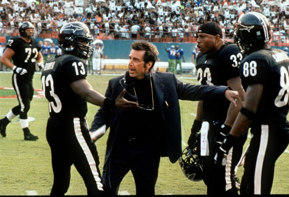 "Al Pacino is a pro coach who tries to quell the tensions of bickering teammates (Jamie Foxx and LL Cool J) in ""Any Given Sunday."""
