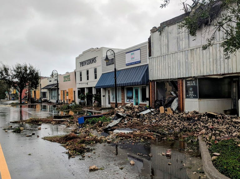 Hurricane Michael formed off the coast of Cuba carrying major Category 4 landfall in the Florida Panhandle. Surge in the Big Bend area, along with catastrophic winds at 155mph. Port St. Joe Lodge number 111, at right, lay in ruins on Reid Avenue on Wednesday, in Port St. Joe, Fla., after the hurricane made landfall.