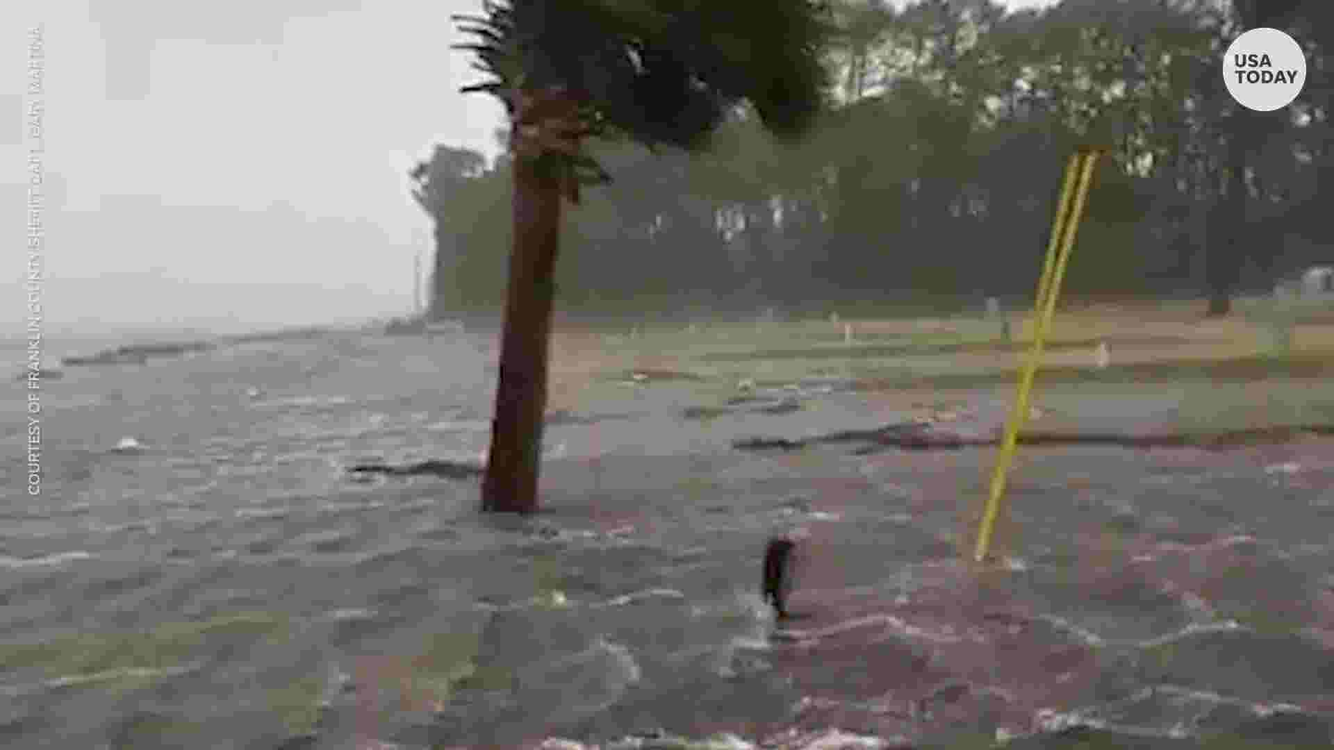 storm surge from hurricane michael swallows shoreline