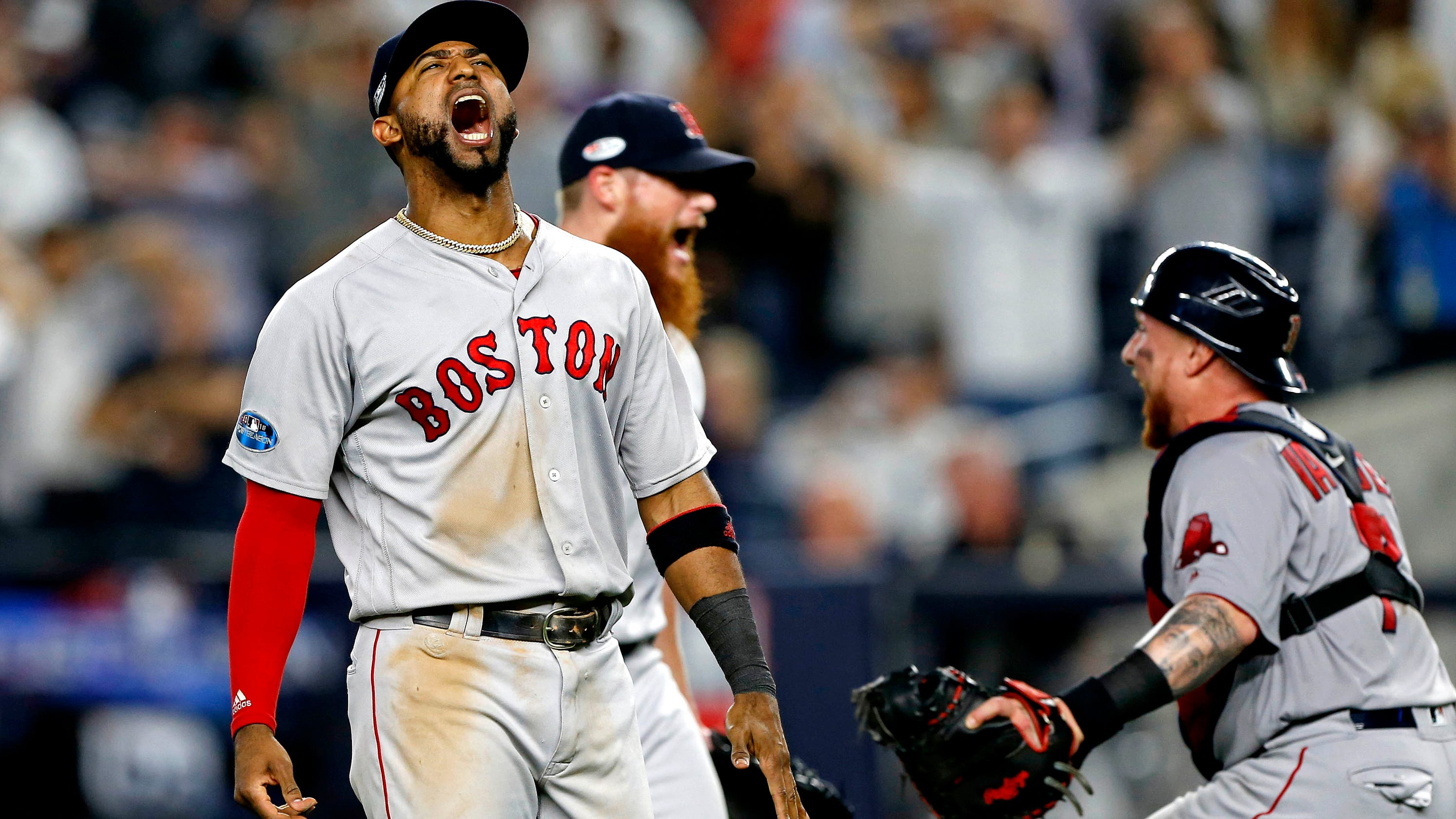 mlb playoffs red sox punish yankees at home to advance to alcs