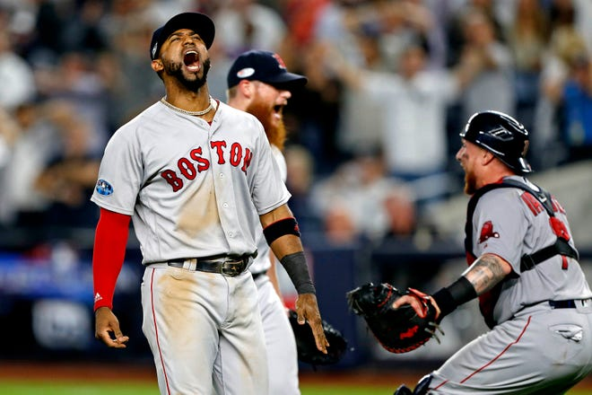 Eduardo Nunez celebrates after the Red Sox defeated the Yankees in ALDS Game 4 to advance to the ALCS.
