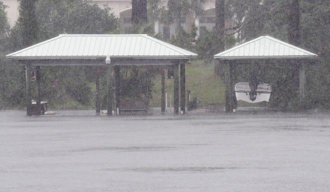 Storm surge from Hurricane Michael will push into the smaller waterways around Panama City Beach, Fla., putting small docks underwater.