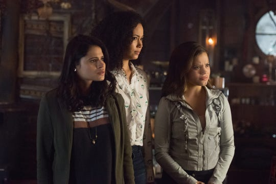 "Melonie Diaz as Mel, Madeleine Mantock as Macy and Sarah Jeffery as Maggie on ""Charmed."""
