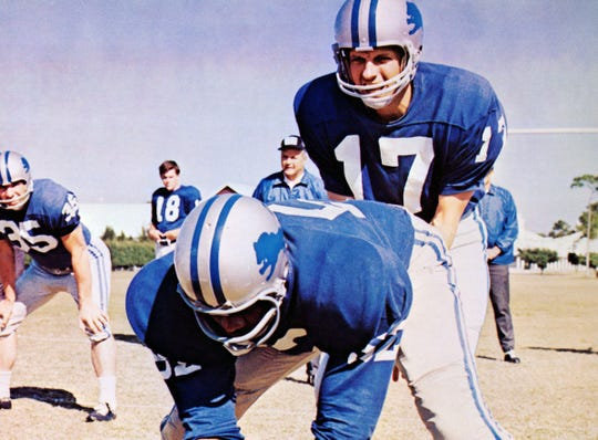 """George Plimpton (Alan Alda, right) is a Sports Illustrated writer who gets a tryout with the Detroit Lions in """"Paper Lion."""""""