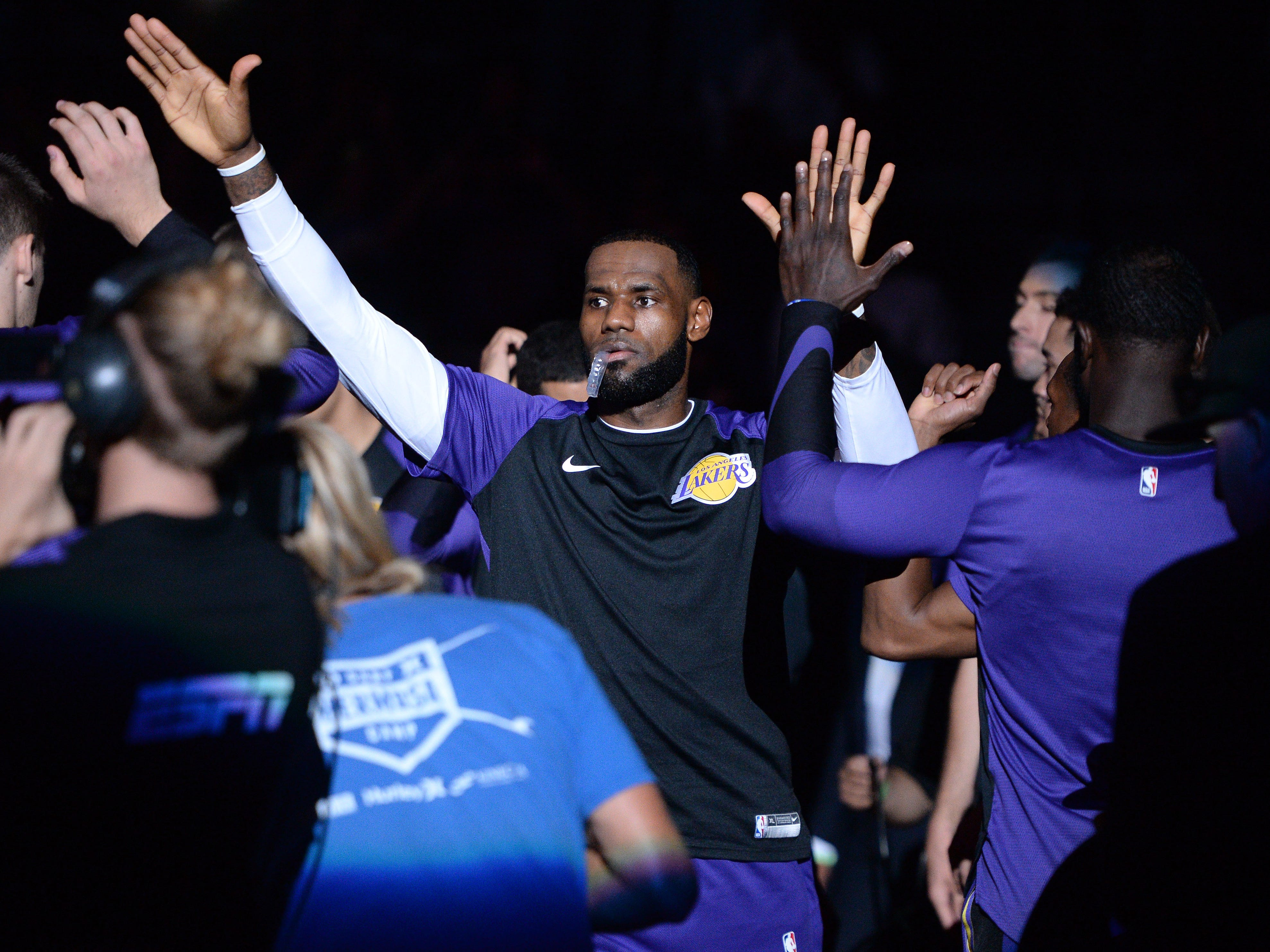 Sept. 30, 2018: LeBron James takes the floor for his Lakers preseason debut against the Nuggets in San Diego.
