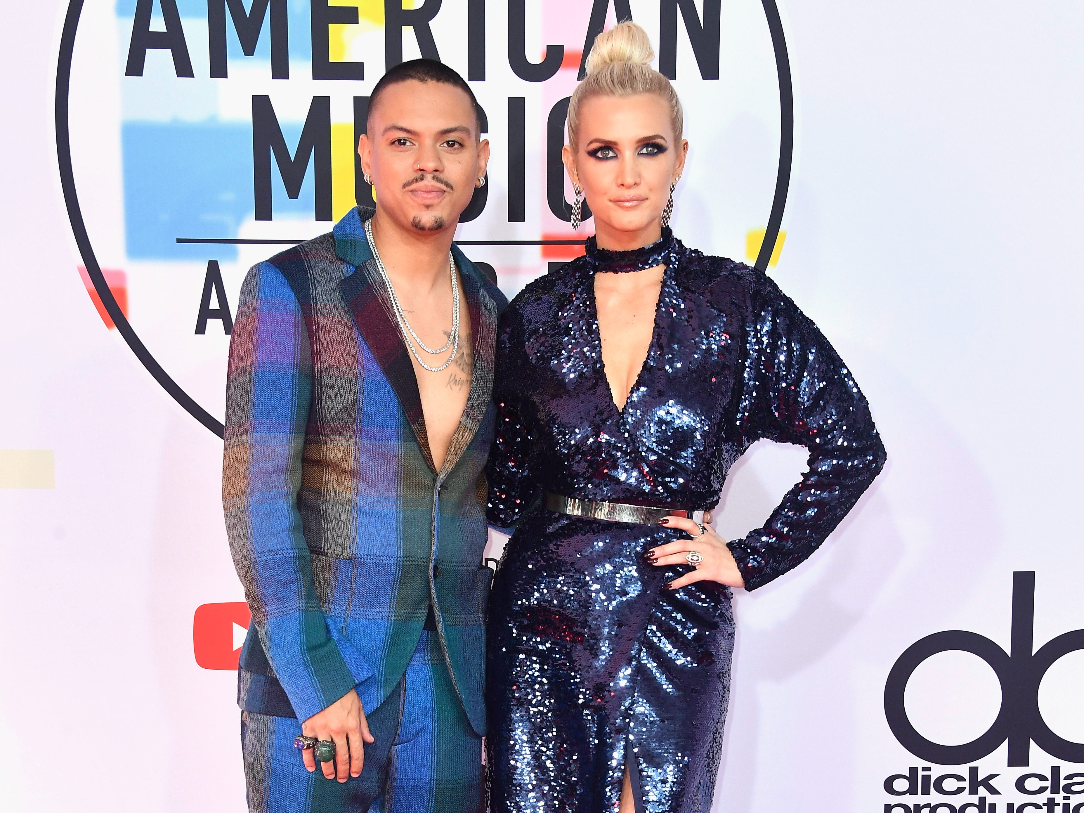Evan Ross, left, and Ashlee Simpson