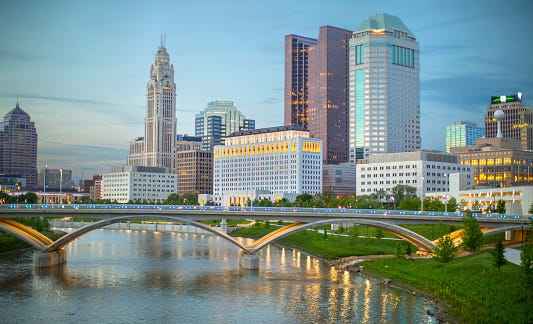 A view of the skyline in Columbus, Ohio