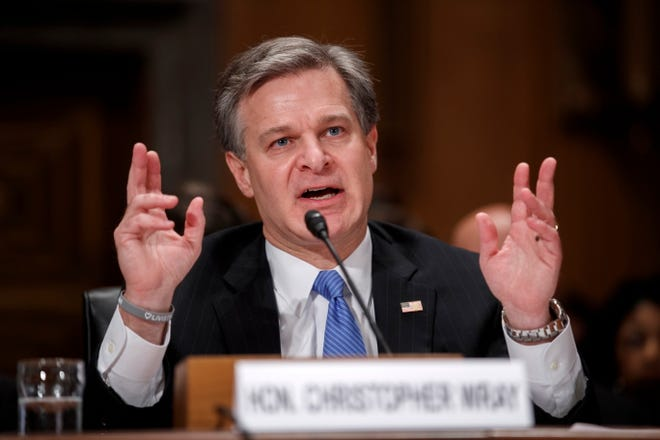 """FBI Director Christopher Wray testifies during the Senate Homeland Security and Governmental Affairs Committee hearing on """"Threats to the Homeland"""" on Capitol Hill in Washington, D.C., on Oct. 10, 2018."""