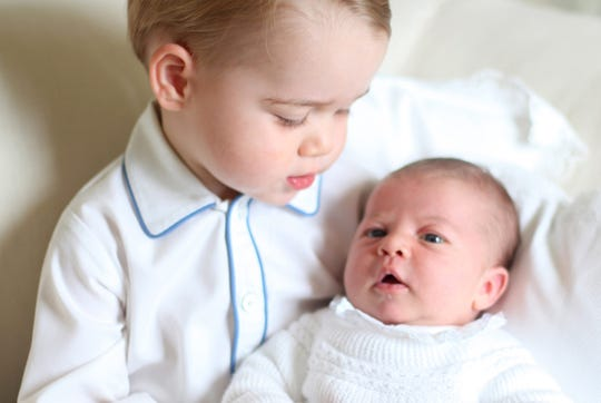 Katherine, the Duchess of Cambridge, snapped this photo of Prince George and his sister, Princess Charlotte, shortly after her birth in May 2015.