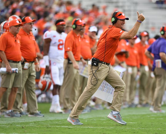 Clemson co-offensive coordinator Jeff Scott coaches against Georgia Tech during the 2nd quarter at Georgia Tech's Bobby Dodd Stadium Saturday, September 22, 2018.