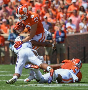 Clemson wide receiver Hunter Renfrow (13) makes a reception against Furman during the 1st quarter Saturday, September 1, 2018 at Clemson's Memorial Stadium.