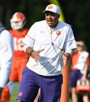 Clemson co-offensive coordinator Tony Elliott during the Tigers opening day of practice on Friday, August 3, 2018.