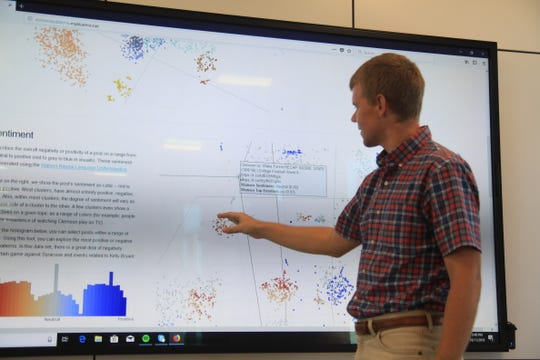 Hudson Smith describes how his data visualization tool works to interpret text.