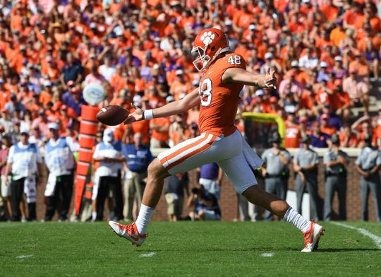 Clemson punter Will Spiers (48) during the 1st quarter on Saturday, September 23, 2017 at Clemson's Memorial Stadium.