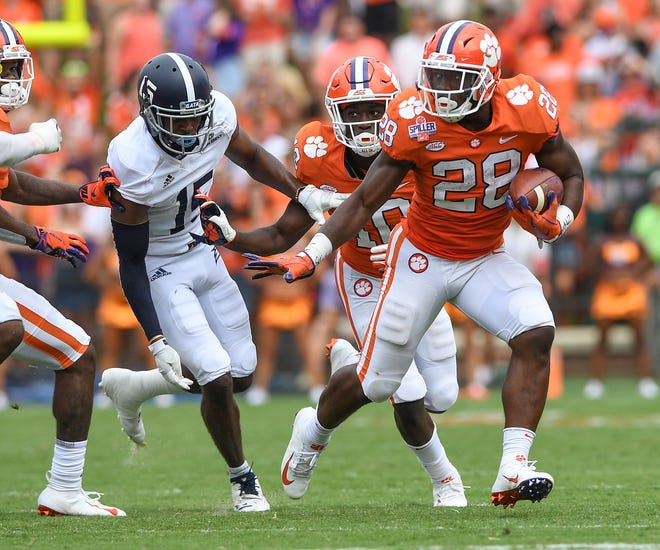 Clemson running back Tavien Feaster (28) carries against Georgia Southern during the 3rd quarter Saturday, September 15, 2018, at Clemson's Memorial Stadium.