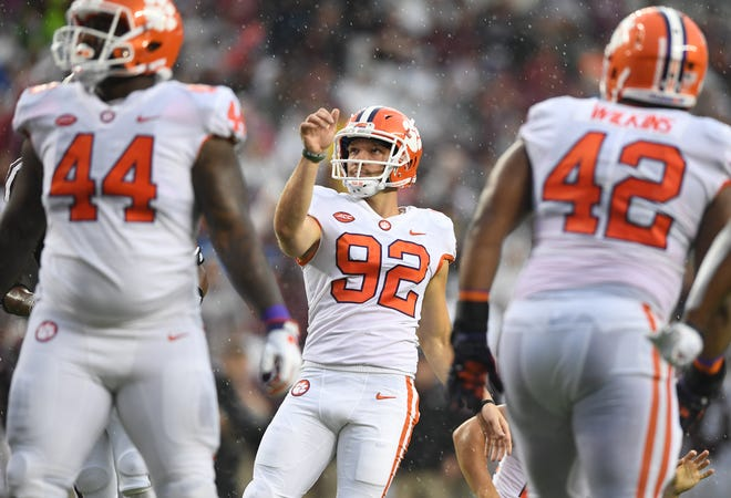Clemson place kicker Greg Huegel (92) kicks an extra point against Texas A&M during the 1st quarter at Texas A&M's Kyle Field in College Station, TX Saturday, September 8, 2018.
