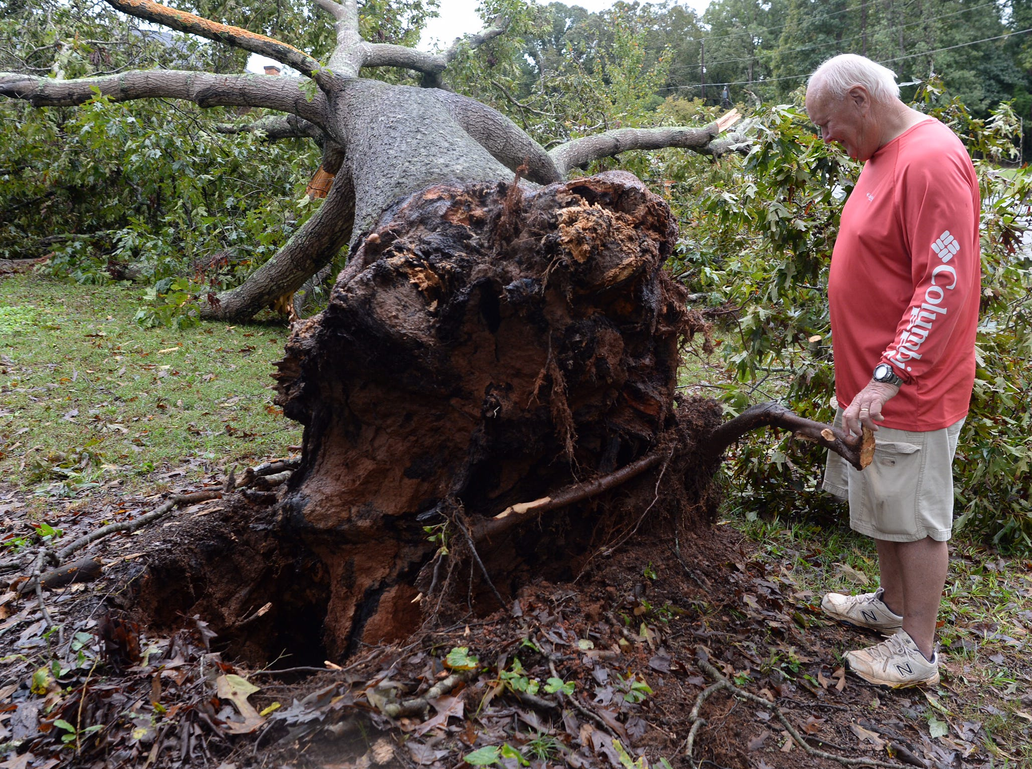 Adam Browning, of 702 Timberlake Road in Anderson, has twin 2-year-old sons, but fortunately it didn't hit their room but still  was close as the oak tree brushed the house. Here, Adam's father Ray Browning looks at tree.