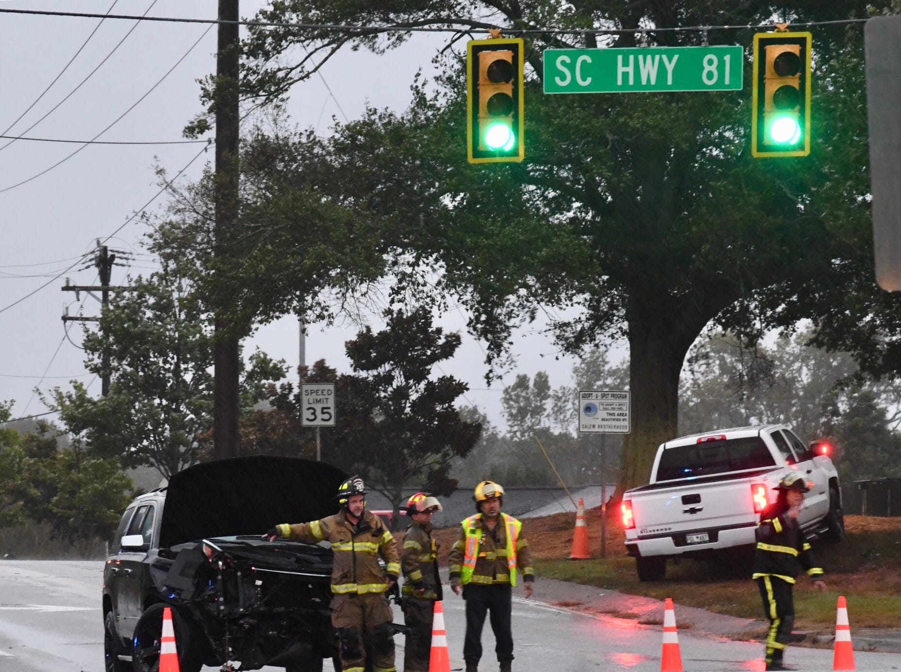 As Tropical Storm moved into the area on Thursday, Oct. 11, 2018, heavy rain made road travel hazardous in Anderson County. Here emergency crews are at the scene of a wreck at South Carolina 81 and Crestview Road.