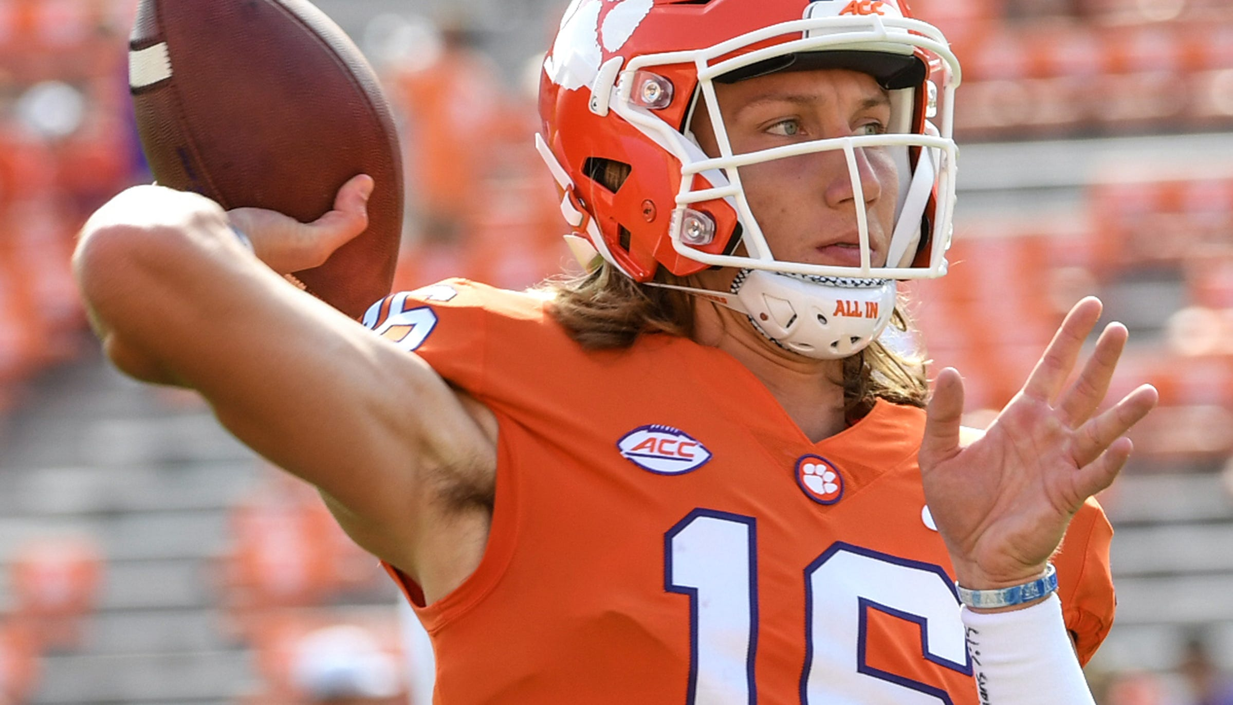 Clemson quarterback Trevor Lawrence (16) warms ups before the Syracuse game before in Memorial Stadium on Saturday, September 29, 2018.