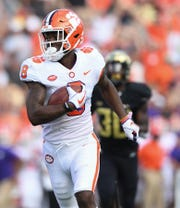 Clemson wide receiver Justyn Ross (8) races towards the end zone to score against Wake Forest during the 2nd quarter at BB&T Field in Winston Salem, N.C. Saturday, October 6, 2018.