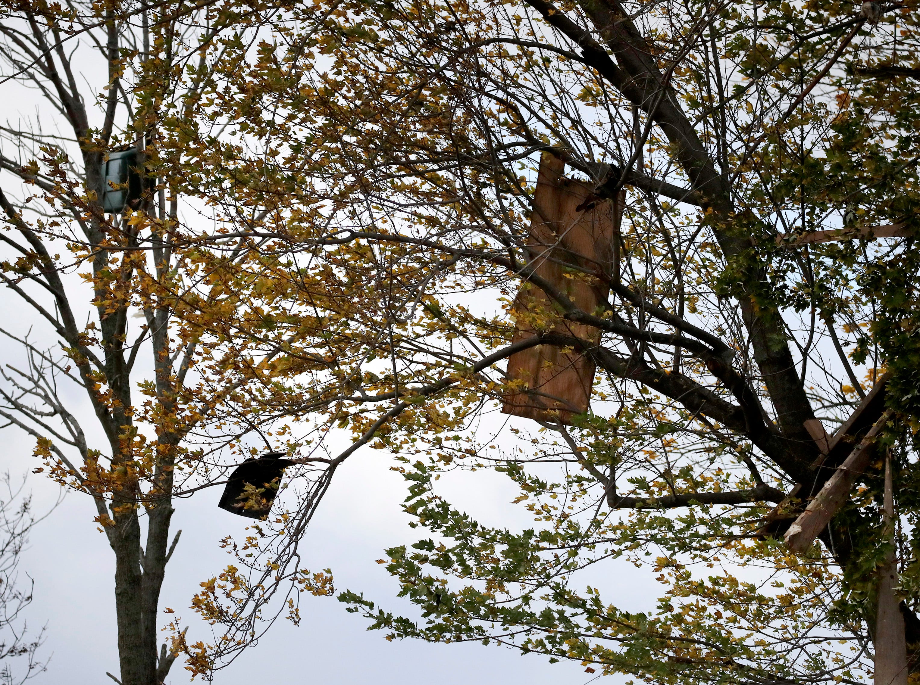 Debris from an explosion that destroyed one home and damaged neighboring properties hangs from the trees Thursday Oct. 11, 2018, in Harrison, Wis.
