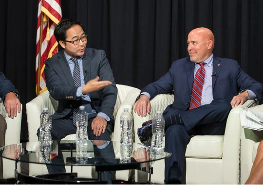 Andy Kim and Tom MacArthur discuss a wide range of issues during the editorial meeting. Congressman Tom MacArthur and Andy Kim, both candidates for New Jersey's 3rd congressional district, sit down for an editorial board meeting with members of the Asbury Park Press and Gannett NJ. 
