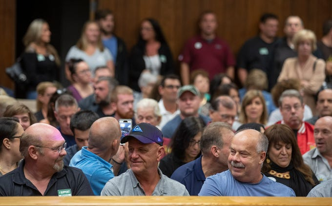 A large crowd showed up both pro and con the dispensary to have their say during the Brick zoning board hearing on Jersey Shore Therapeutic Health Care, a proposed medical marijuana dispensary at the site of the former OceanFirst Bank on Adamston Road.