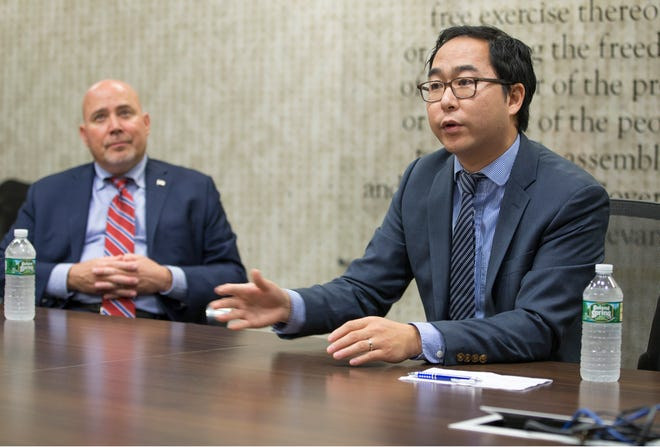 Tom MacArthur and Andy Kim discuss a wide range of issues during the editorial meeting. Congressman Tom MacArthur and Andy Kim, both candidates for New Jersey's 3rd congressional district, sit down for an editorial board meeting with members of the Asbury Park Press and Gannett NJ. 