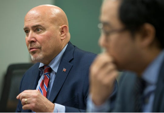 Congressman Tom MacArthur and Andy Kim, both candidates for New Jersey's 3rd congressional district, sit down for an editorial board meeting with members of the Asbury Park Press and Gannett NJ. MacArthur speaks during the meeting.