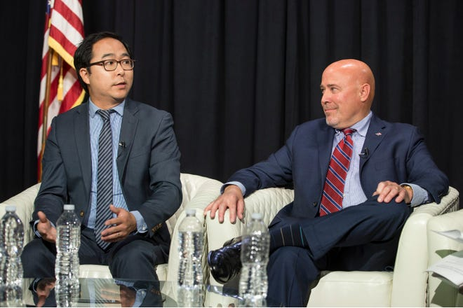 Andy Kim and Tom MacArthur discuss a wide range of issues during the editorial meeting. Congressman Tom MacArthur and Andy Kim, both candidates for New Jersey's 3rd congressional district, sit down for an editorial board meeting with members of the Asbury Park Press and Gannett NJ. Neptune, NJThursday, October, 11, 2018