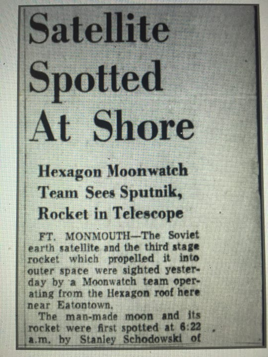Clipping of the front page of the Oct. 13, 1957, Asbury Park Press with the news story of the Sputnik spotting.