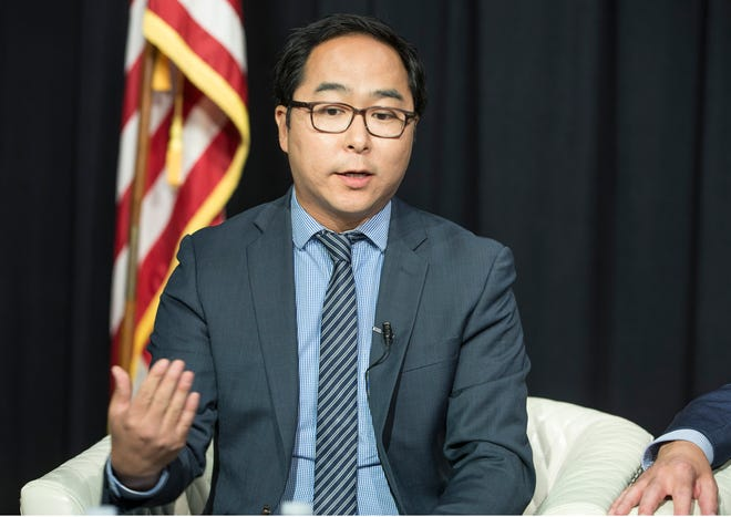Andy Kim, Democratic candidate for the 3rd Congressional District seat, makes a point during a Facebook Live editorial board meeting with the Asbury Park Press on Oct. 11, 2018