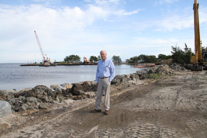 Ocean County Freeholder John C. Bartlett Jr. on an inspection tour of Berkeley Island County Park in 2017, which was undergoing reconstruction at the time.
