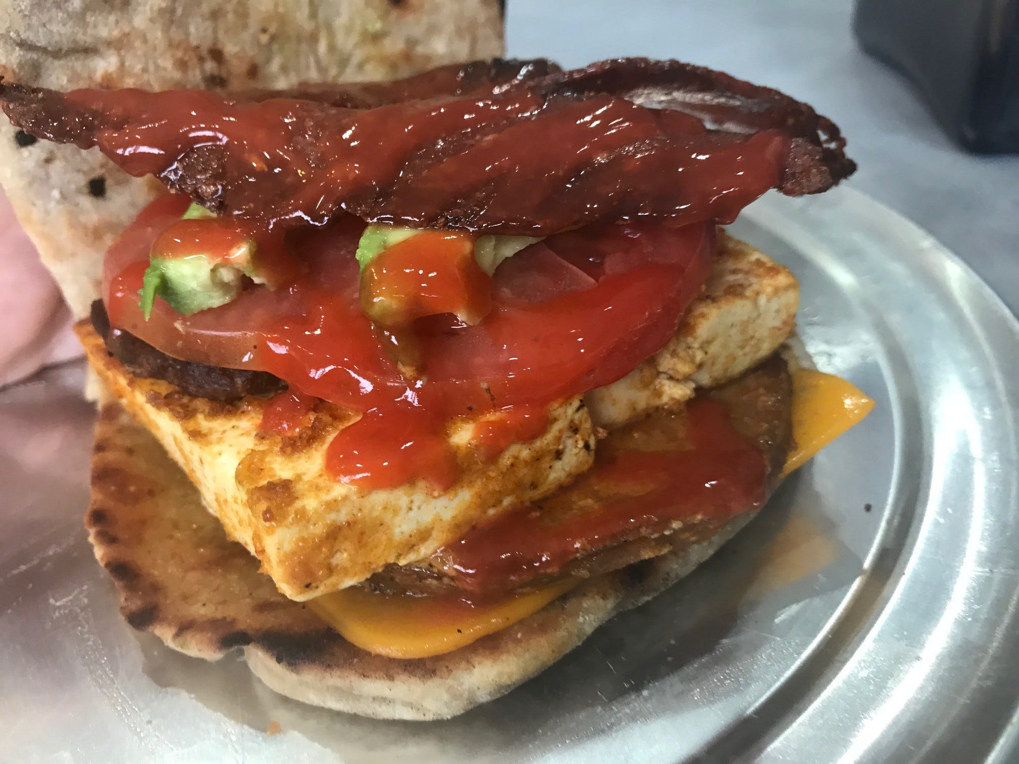 A vegan pork roll sandwich from Alternative Plate in Lake Como.