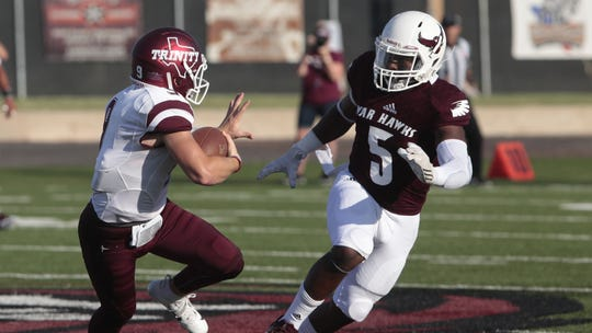Josh Smith (5) leads McMurry in tackles  and  is one of seven McMurry players from Louisiana.