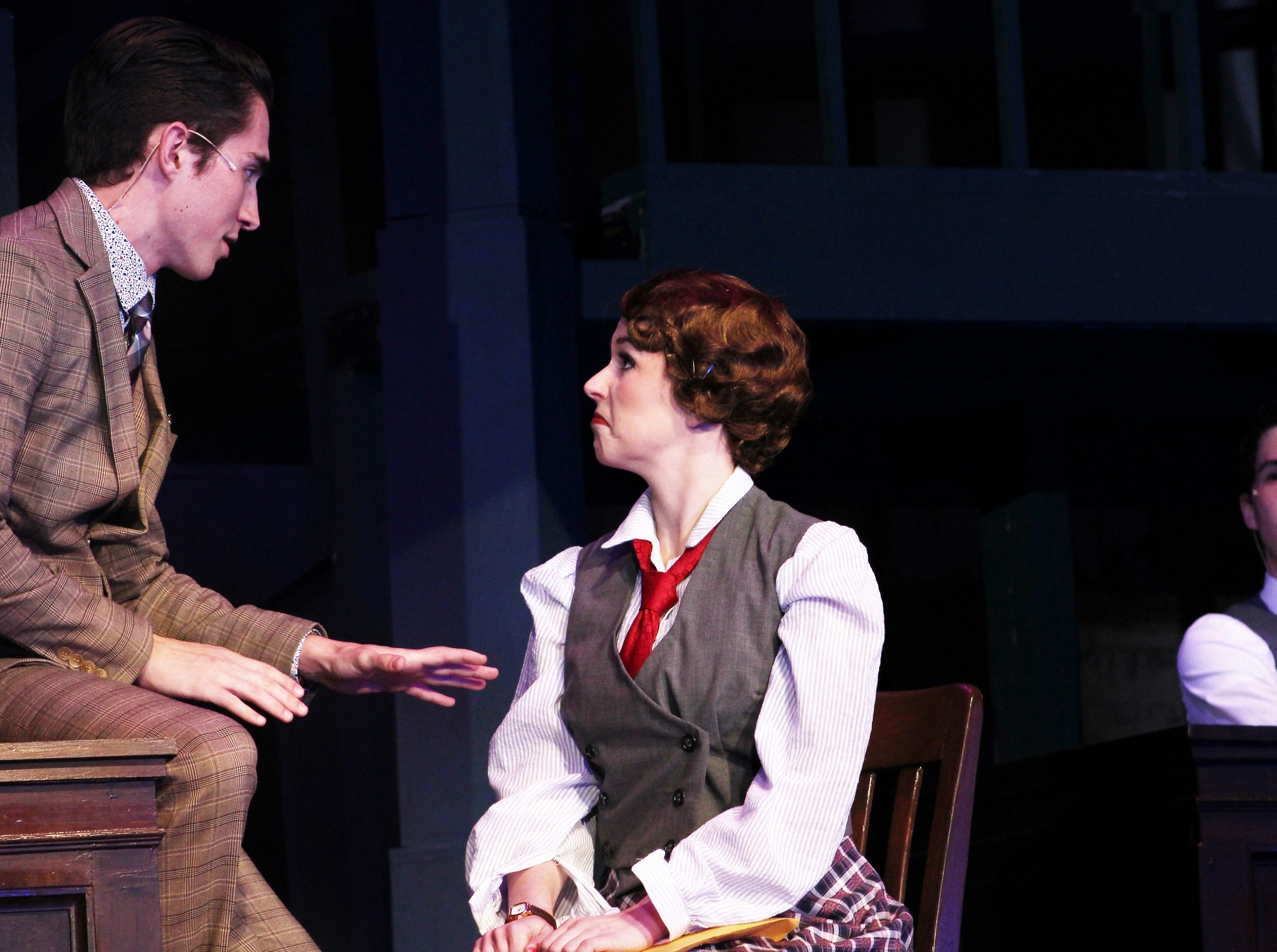 """Bob (Andrew Boone) lays it out for aspiring writer Ruth Sherwood (Payton Reeves) in this rehearsal scene from """"Wonderful Town,"""" Abilene Christian's 2018 homecoming musical"""