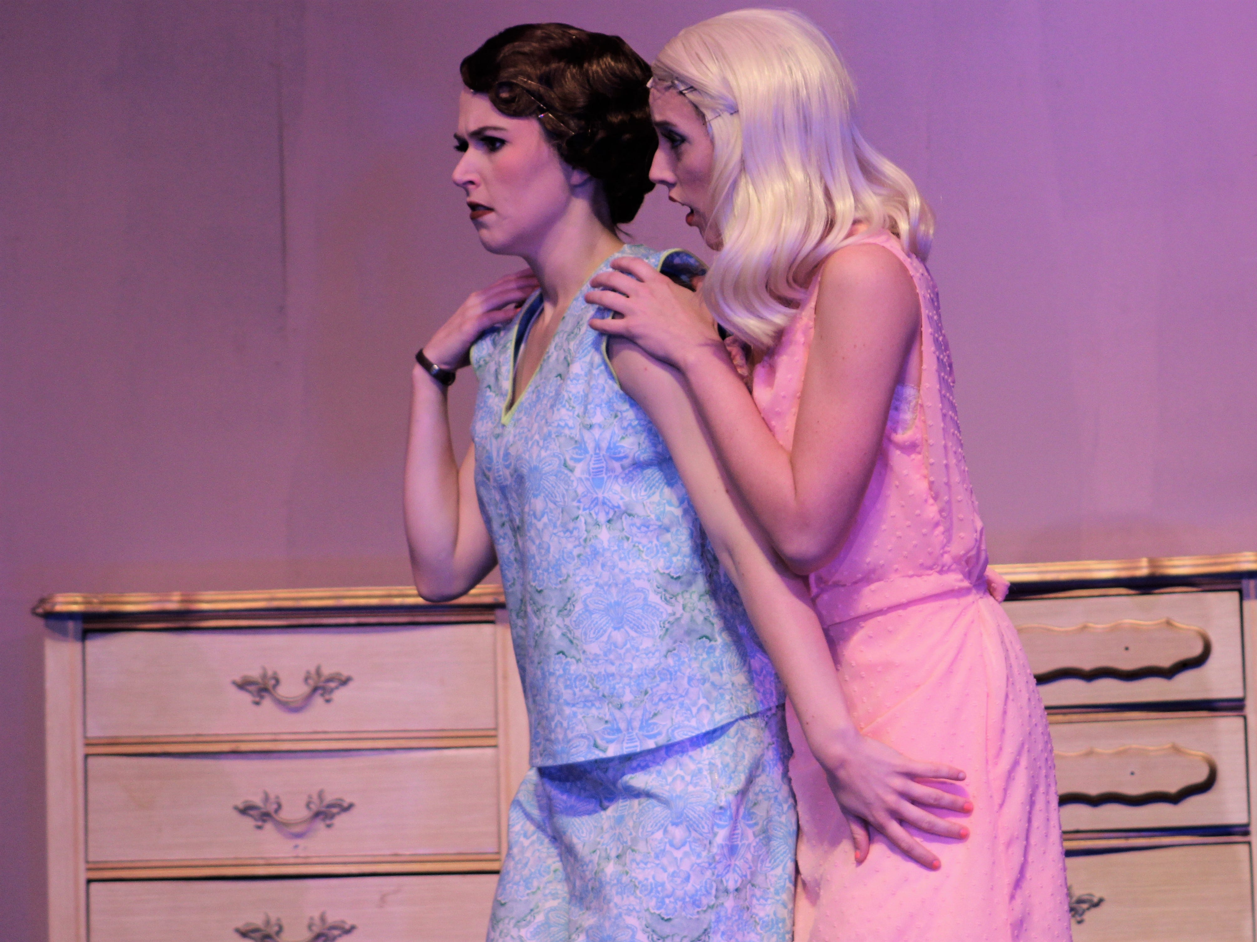 """Ruth (Payton Reeves, left) and her sister Eileen Sherwood (Helena Lynch) react to a man suddenly in their basement apartment in Greenwich Village in this rehearsal scene from """"Wonderful Town,"""" Abilene Christian's 2018 homecoming musical"""