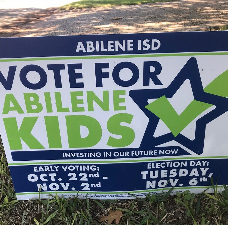 .A sign from the Vote For Abilene Kids Political Action Committee encourages people to support the Abilene ISD's $138.7 million bond that will appear on the Nov. 6 ballot.