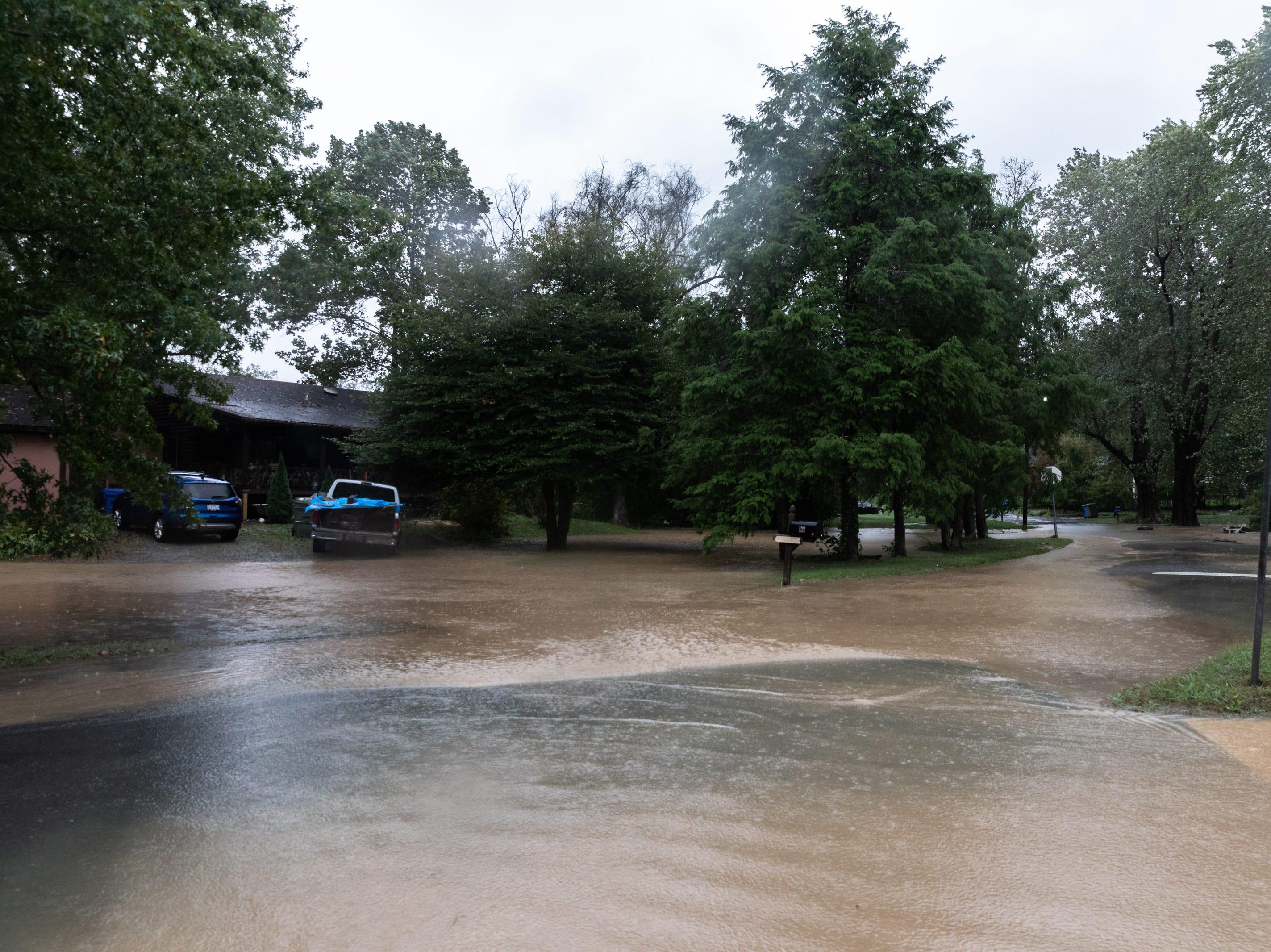 A flooded residential street in Hendersonville Oct. 11, 2018.
