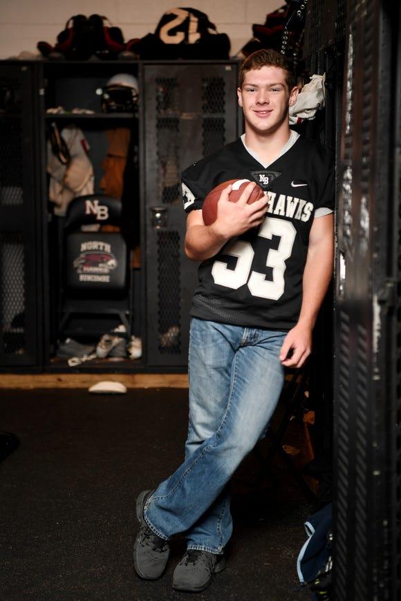 North Buncombe center Levi Fender in the Blackhawks locker room October 10, 2018.